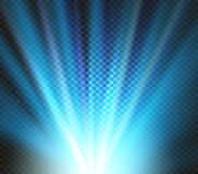 Shining vector blue color light effects, glowing beams on checkered background, illumination vector illustration Royalty Free Stock Photography