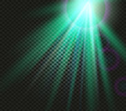 Shining vector green color light effects, glowing beams on checkered background, illumination vector illustration Stock Photos