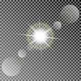 Shining vector sun with colorful light effects. Transparent vector sun light with bokeh isolated on dark background Stock Photos