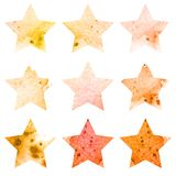 Shining watercolor stars icon set. Vector royalty free illustration