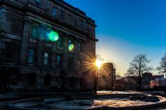 Shining weather in the Quebec city. Cold mood royalty free stock photos