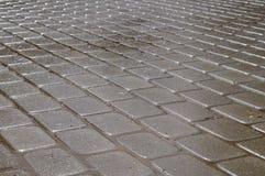 Shining wet rectangular tiled stone pavement Royalty Free Stock Photography
