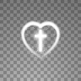 Shining white cross with heart on transparent background. Glowing saint cross. Vector illustration.  stock illustration