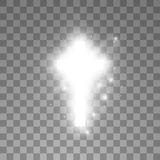 Shining white cross on transparent background. Glowing saint cross. Vector illustration.  vector illustration