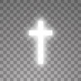 Shining white cross on transparent background. Glowing saint cross. Vector illustration.  stock illustration