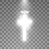 Shining white cross and white halo angel ring and sunlight special lens flare light effect on transparent background. Glowing saint cross. Vector illustration royalty free illustration