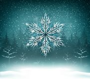 Shining white texture Snowflake on the blue forest landscape. Stock Photo