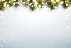 Shining winter background with fir branches. Shining winter background with fir branches and snow. Vector Christmas illustration Royalty Free Stock Photography