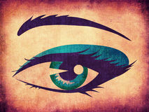 Shining woman eye on paper Royalty Free Stock Photos