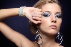 Shining woman face makeup Stock Photo