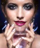 Shining woman face makeup Stock Photos
