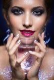 Shining woman face makeup Stock Image