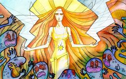Shining woman holding lightnings. Horror surrounding. Watercolor drawing Stock Images