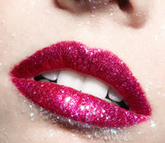Shining woman lips makeup Royalty Free Stock Photo