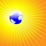 Shining World Earth ATLANTIC. Blue Earth Globe Radiant: A shining world on a background of bright yellow gold rays royalty free illustration