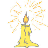 Shining yellow candle Stock Photos