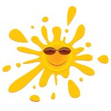 Shining yellow sun in sunglasses on a white background. Cartoon illustration summer time. . Stock Image