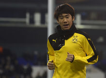 Shinji Kagawa. Football player pictured prior to the UEFA Europa League round of 16 game between Tottenham Hotspur and Borussia Dortmund on March 17, 2016 at royalty free stock photo