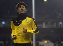 Shinji Kagawa. Football player pictured prior to the UEFA Europa League round of 16 game between Tottenham Hotspur and Borussia Dortmund on March 17, 2016 at stock image