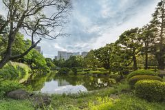 Shinji Pond in the public garden of Hibiya Park bordering the so. Uthern moat of the Imperial Palace. The word Shinji is composed of 2 ideograms which are the royalty free stock image