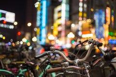Shinjuku cyklar Arkivbild