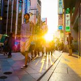 Shinjuku, Tokyo sunset street scene. A moment of Zen in one of Tokyo's busiest areas Royalty Free Stock Photo