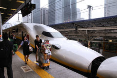 Shinkansen培训 免版税图库摄影