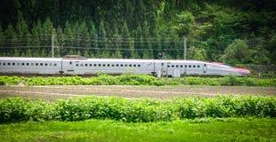 Shinkansen高速火车在Tohoku,日本 图库摄影