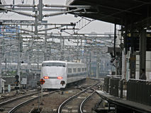 Shinkansen. Express leaving Kyoto station stock image