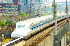Shinkansen Bullet Train Departing Kyoto Angled Stock Photos
