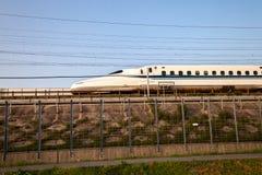 Shinkansen bullet train in Japan. Royalty Free Stock Photo