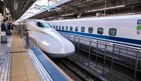 Shinkansen bullet train at JR Kyoto Station. Shinkansen bullet train model N700 at railway platform JR Kyoto Station. Japan Stock Photography
