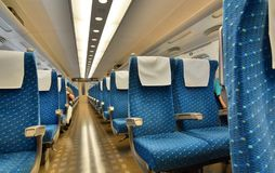 Inside the N700 series Shinkansen bullet train. Tokyo Station. Tokyo. Japan. The Shinkansen, or bullet train, is a network of high-speed railway lines in Japan Stock Photo