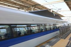 Shinkansen bullet train at Okayama railway station Royalty Free Stock Photo