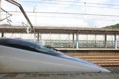 Shinkansen Bullet Train Stopped at Shin Iwakuni Stock Photo