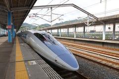 Shinkansen Bullet Train Stopped at Shin Iwakuni Stock Photos