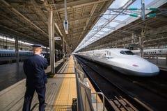 Shinkansen, bullet train, train arriving at the Shin Osaka Station in Osaka, Japan. Osaka Japan - October 29, 2016: Shinkansen, bullet train, train arriving at Royalty Free Stock Images