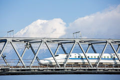Shinkansen and Fuji Mountain Stock Photo