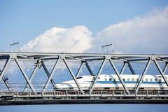 Shinkansen and Fuji Mountain stock photo