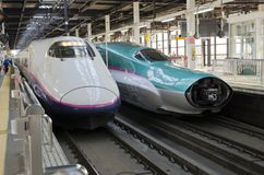 Shinkansen Hayabusa train at Tokyo Station. Stock Photo