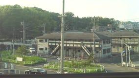 Shinkansen, Japanese bullet train, departs Shin-Yokohama station. Kanagawa,Japan-July 7,2017:Shinkansen, Japanese bullet train, departs Shin-yokohama station at stock footage
