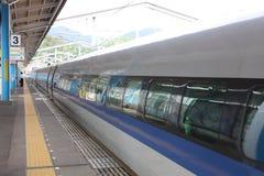 Shinkansen Bullet Train Stopped at Shin Iwakuni Royalty Free Stock Photography