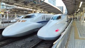 Shinkansen Trains Japan. Three Japanese Shinkansen trains in the station royalty free stock photography