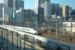A Shinkansen train running on track in Tokyo, Japan Stock Image