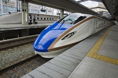 Shinkansen Trains at Nagano Station, Japan royalty free stock photo