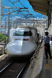 Shinkasen bullet trains Japan. Bullet train Japan Tokyo station 2013 Royalty Free Stock Images