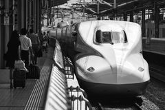 Shinkasen bullet trains Japan. Bullet train Japan Tokyo station 2013 Stock Photos