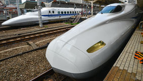 Shinkasen bullet trains Japan. Bullet train Japan Tokyo station 2013 Royalty Free Stock Photography