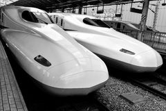Shinkasen bullet trains Japan. Bullet train Japan Tokyo station 2013 Royalty Free Stock Image