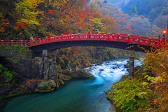 Shinkyo Bridge during autumn in Nikko, Japan Stock Photography